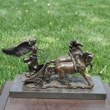 copper chariot umako female (trumpet) handicrafts Home Furnishing sculpture ornament horse drawn carriage
