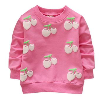 2019 Autumn Baby Boy Girl Strawberry Pattern Sweater Long Sleeve Casual Sweater 4 Colors For 0-2 Year cheap 1