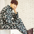 In the autumn Winter leisurewear suit men's pyjamas long-sleeved thickening male model