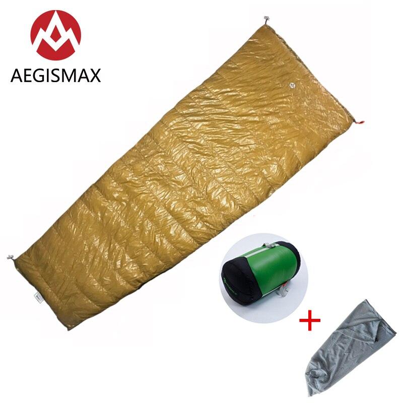 AEGISMAX Outdoor Camping LIGHT 800FP White Goose Down Envelope Three Season Down Adult Nylon Sleeping Bag