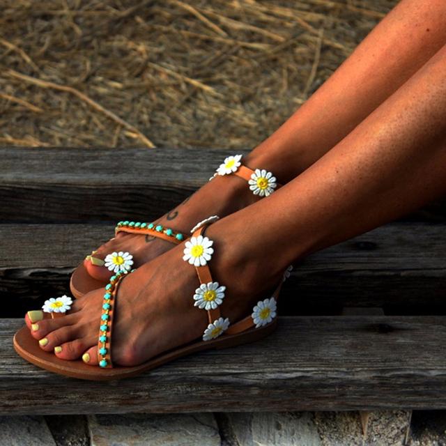 Flat Flowers Boho Sandals