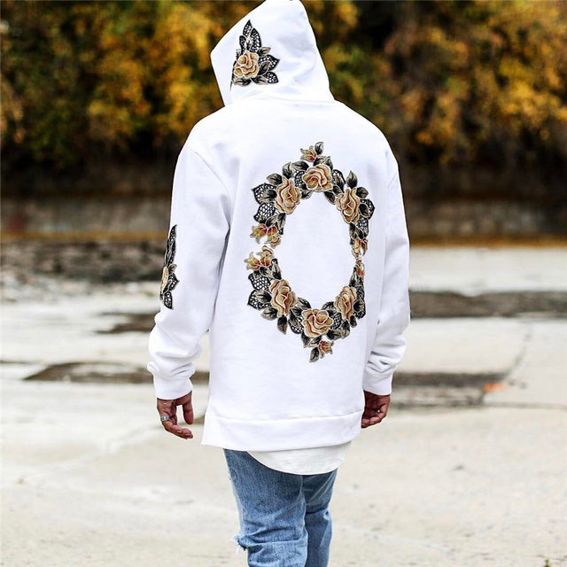 New Design Flower Embroidery Hoodies Men Hip Hop Side Split hoody Sweatshirts Hooded Pullover long sleeve Jumper tops