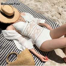 2019 one piece suits swimsuit lace lady women fused swimwear female bather solid backless nylon bikinis cool