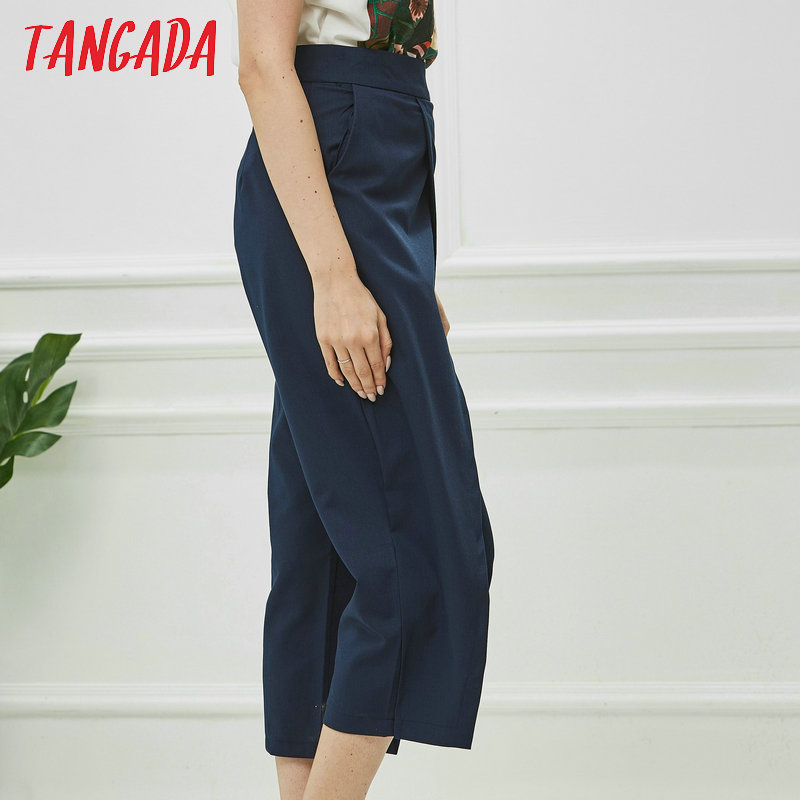 Tangada women elegant navy pants 19 ladies casual harem pants cotton cool korean fashion trousers mujer XD449 9
