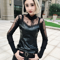 Punk Rock Womens Lace Faux Leather Tops Party Stretch Casual Shirts Tops Black Slim Fit A1289