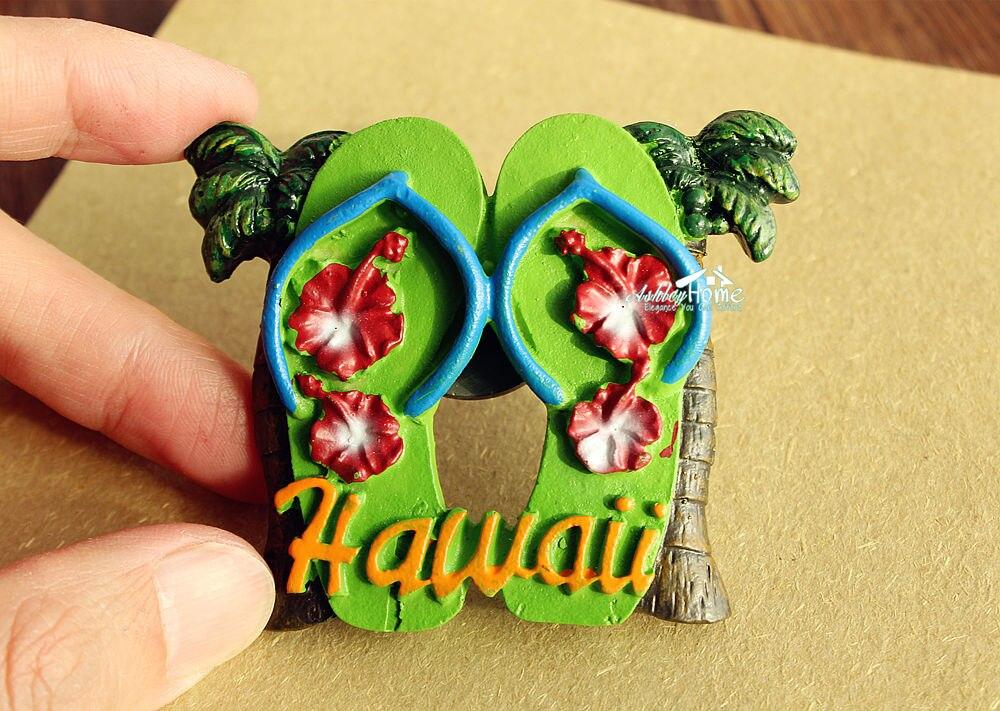 Hawaii USA Tourist Travel Souvenir Slippers Shaped 3D Resin Fridge Magnet Craft