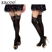 Фотография ZACOO Women 2017 fashion Tights Cotton Silk Stockings Pantyhose Cat Rabbit Girl Sexy Slim Cats Lovely Female Tight stockings z25