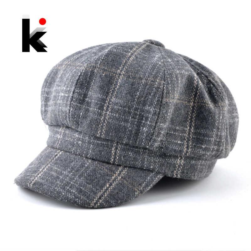 New Fashion Octagonal Hats For Women Classic Plaid Newsboy Caps Men Vintage Artist  Painter Peaked Cap d8a36cc9b668