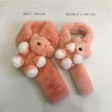 l Rex Rabbit Fur Scarf Autumn And Winter Leather Fur Scarf  Parent Child Version Bear Scarf Childrens Edition