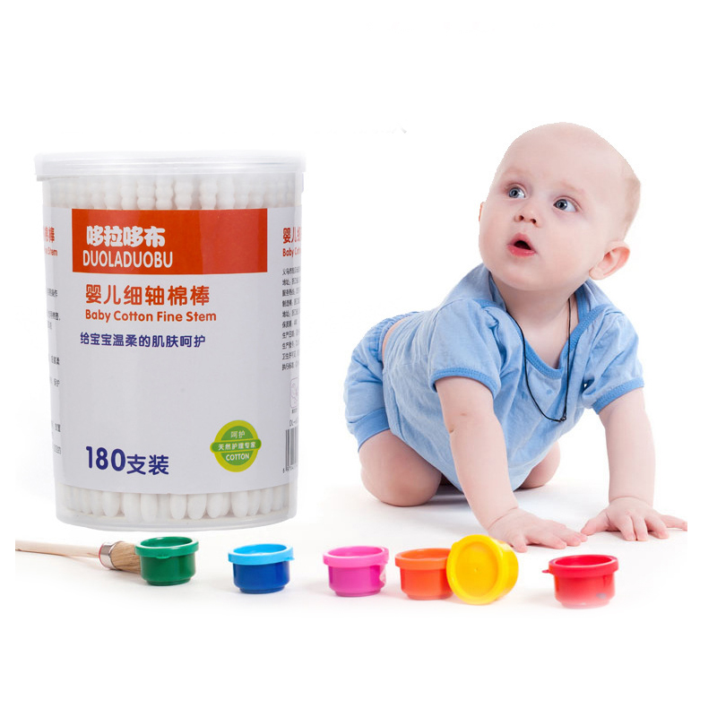 Double Head baby Cotton Swab Makeup Cotton Swabs Tip For Medical Wood Sticks Nose Ears Cleaning Care tools