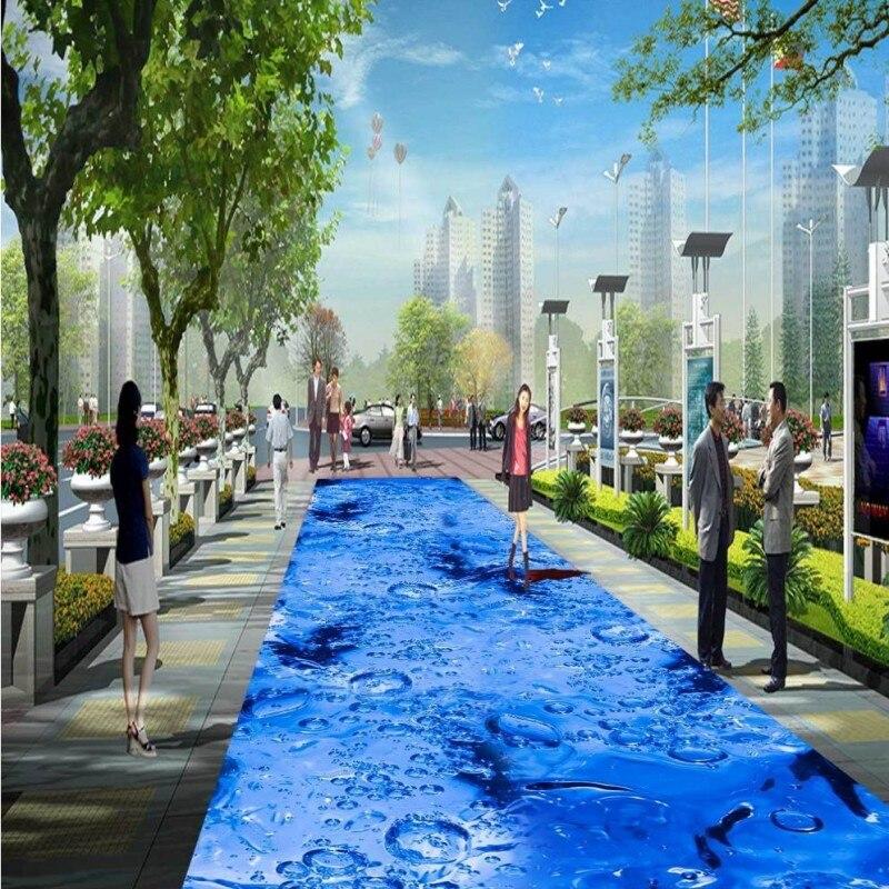 Freies Verschiffen 3D blue wassertropfen boden tapete küche dusche ...