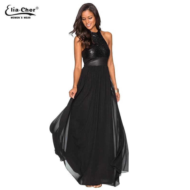 Sequined Backless Dress Women Black Party Sexy Evening Maxi Dresses Halter Elegant Summer Vintage Dress Vestido 8801 sequined halter chain dress