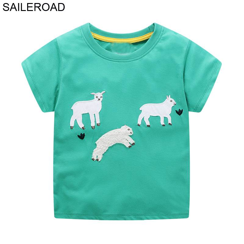 SAILEROAD 2-7 Years Fashion Baby Girls sheep T-Shirt Children Summer Cartoon T Shirts Kids Infant Short Sleeve Cotton ClothesSAILEROAD 2-7 Years Fashion Baby Girls sheep T-Shirt Children Summer Cartoon T Shirts Kids Infant Short Sleeve Cotton Clothes