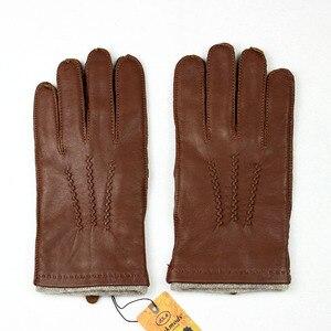 Image 2 - Gants en cuir de mouton pour homme, haute qualité, style suture, gants importés, en laine, chauds, automne