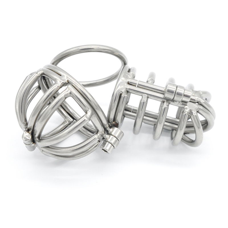2 Size Stainless Steel Male Chastity CB Device Cage Scrotum Ball Testicle Stretcher Metal Cock Ring Penis Cages Sex Toys For Men wearable penis sleeve extender reusable condoms sex shop cockring penis ring cock ring adult sex toys for men for couple