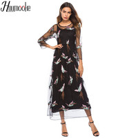Houmk 2019 Summer New Women Plus Size Long Dresses O neck Phoenix Embroidery Party Vestidos Robe Mujer Gauze Black summer dress