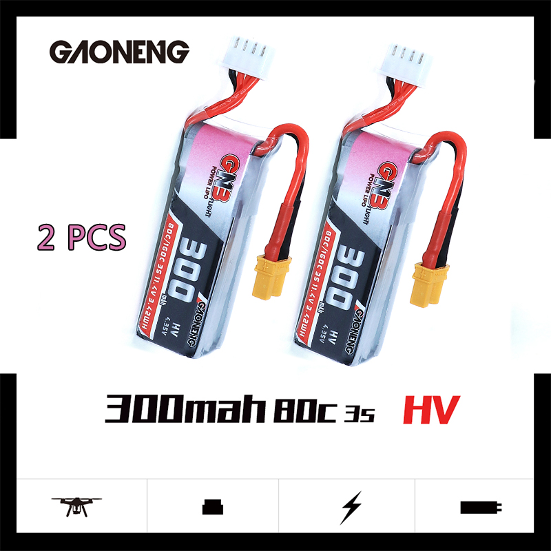 2 pces gaoneng gnb 300mah 11.4 v 80c/160c hv lipobattery com xt30 plug para betafpv beta75x 3 s beta65x 2 s whoop drones