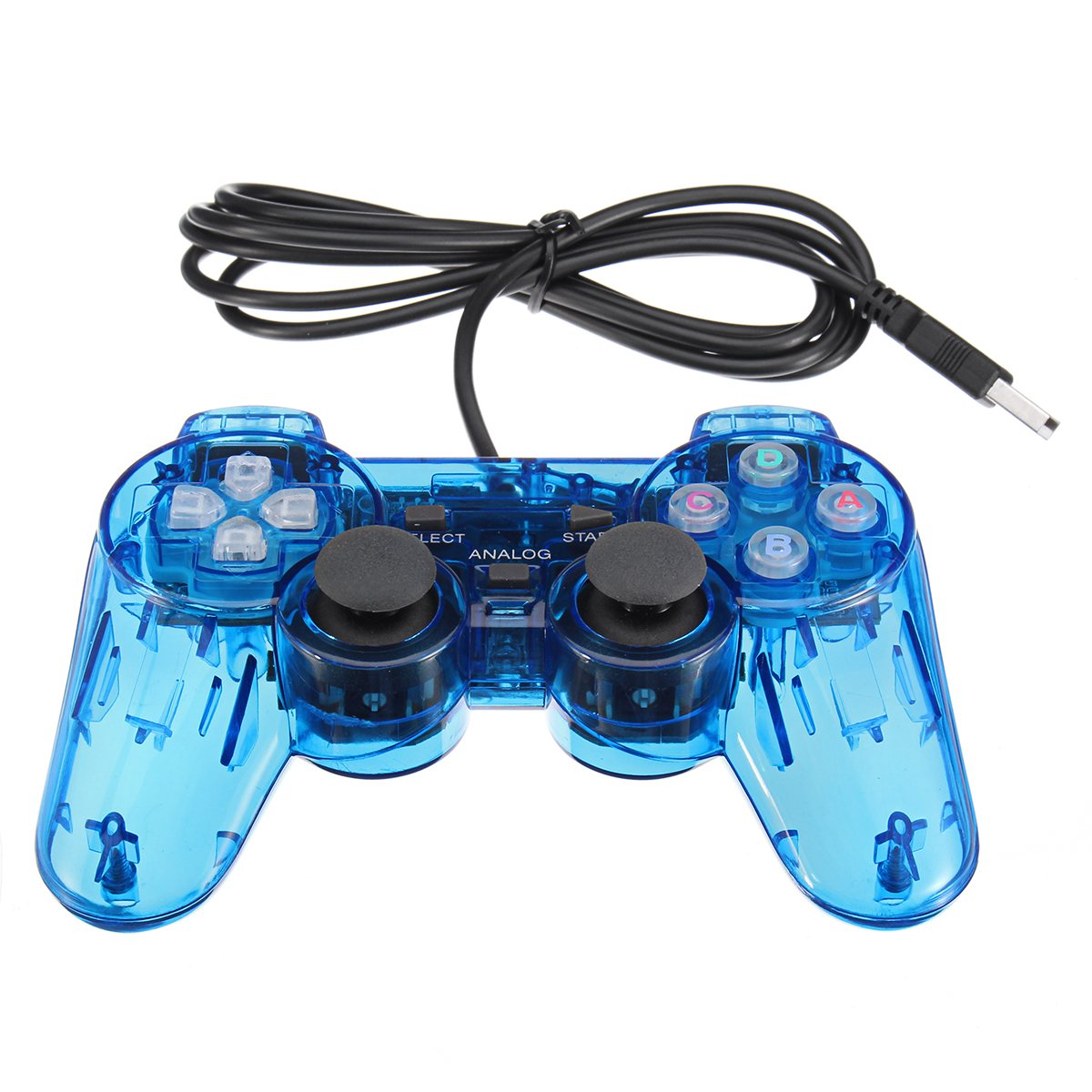 A Pair Transparent Blue Game Controller Gamepad Joystick For Retro TV Gaming Console USB Wired Family For Fun