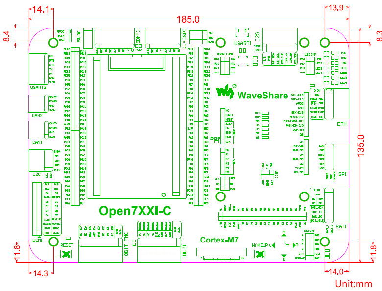 STM32 development board dimensions