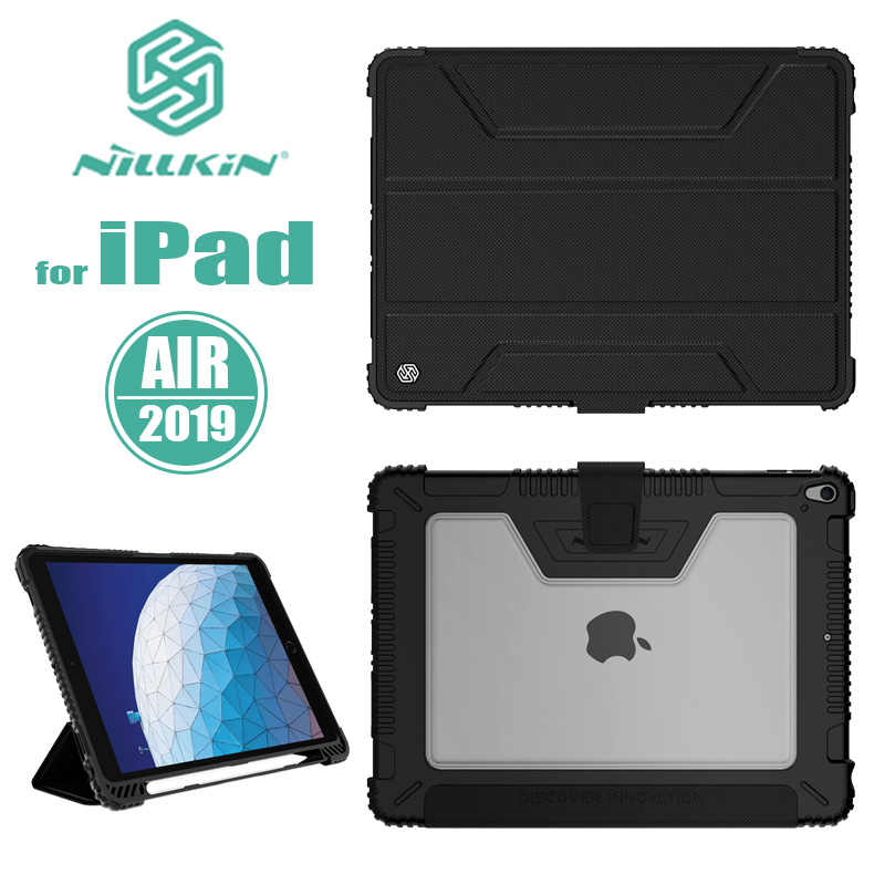 for iPad Air 2019 Case Nillkin All Around Bumper Flip Leather Case with Apple Pencil Holder for iPad Pro 10.5 2017 Back Cover image