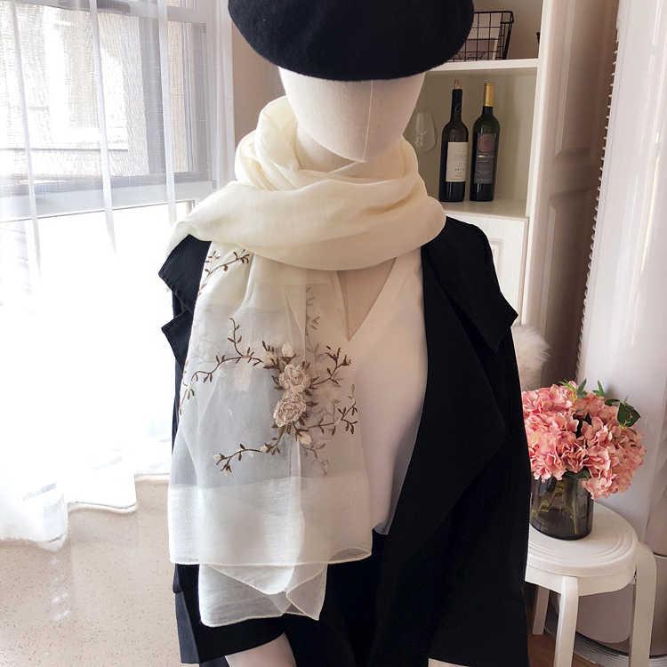 Di alta qualità di seta di Hangzhou prugna fiore del ricamo grigio/rosa/blu di lana di seta Dello Scialle della sciarpa delle donne di formato: 85*200 centimetri (per la pulizia a secco)