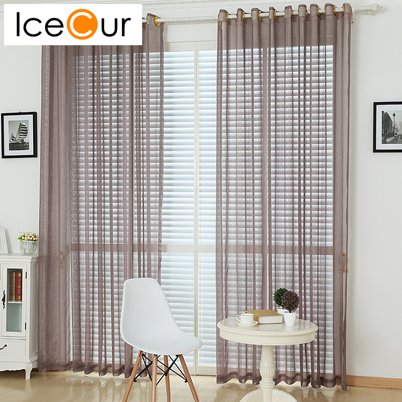 Fashion Stripe Rustic Curtain Yarn Bedroom Living Room: Striped Solid Color Tulle Curtains Window Yarn Curtains