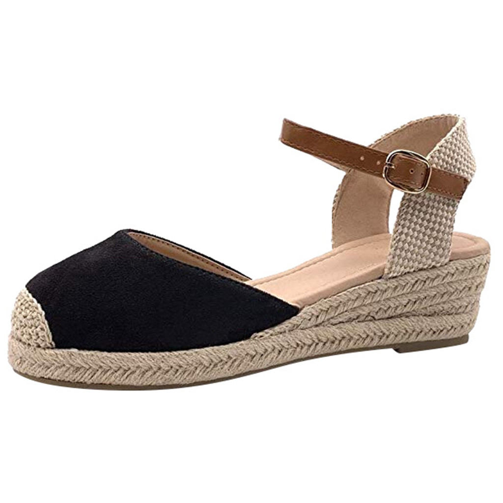 SAGACE Women's Sandals Buckle-Strap Wedges Open-Toed Ladies Shoes Fashion Jly8 Weaving