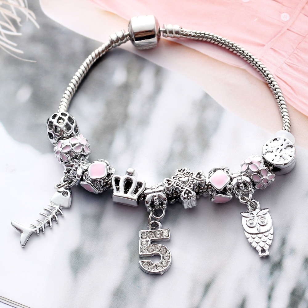 Antique Silver Charm Bracelet & Bangle With Fish Owl No.5 Crystal Aliexpress Murano Ball Women Beads Bracelets Wedding Jewelry пандора браслет с шармами