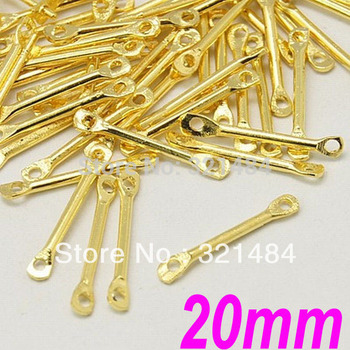 1500pcs 20mm Gold Plated Tone Metal Straight Bar Link Connectors tube spacer jewelry findings accessories