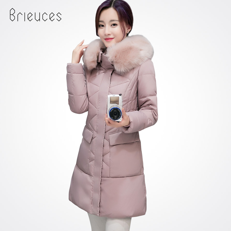 Brieuces  2017 Long Parkas Women Winter Jacket And Coat Big Fur Collar Plus Size Thick Cotton Padded Hooded Jacket Female big fur collar winter jacket women parka wadded jacket female outerwear thick hooded coat long cotton padded parkas plus size