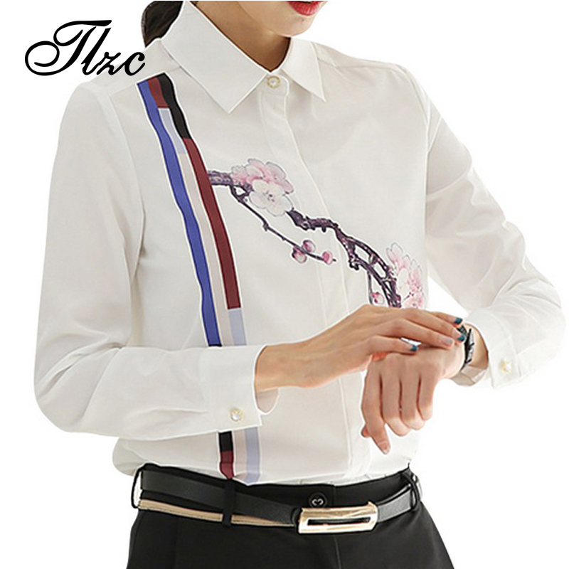 Tlzc fashion lady shirts white color women printed blouse for Best affordable dress shirts