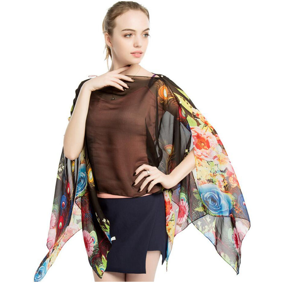 Women summer capes sexy cover ups wrap shawls pareo kaftan towel 90x145CM beach wrap floral feather printed chiffon shawl sarong in Women 39 s Scarves from Apparel Accessories