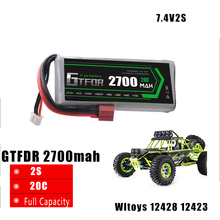 GTFDR POWER 1pcs High quality  7.4V 2700MAH 20C 2S li-po battery upgrade parts for feiyue 03 Wltoys 12428 12423  RC car RC boat