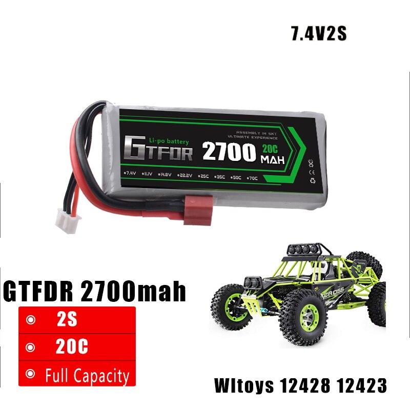 GTFDR potencia 1 unids alta calidad 7,4 V 2700 mAh 20C 2 s li-po de la batería piezas de actualización para feiyue 03 Wltoys 12428 12423 coche RC barco