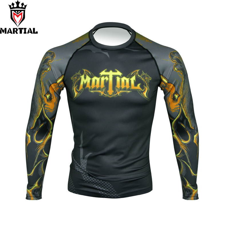 Martial :  Ours Is The Fury ORIGINAL Design Full Sleeve Rashguards Fitness Mma Grappling Shirts Bjj RASHGUARDS Running Shirts