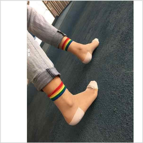 1ef16ea446be7 ... New Fashion Summer Women Cute Rainbow Colorful Transparent Socks  Japanese Harajuku Female Striped Crystal Glass Silk ...