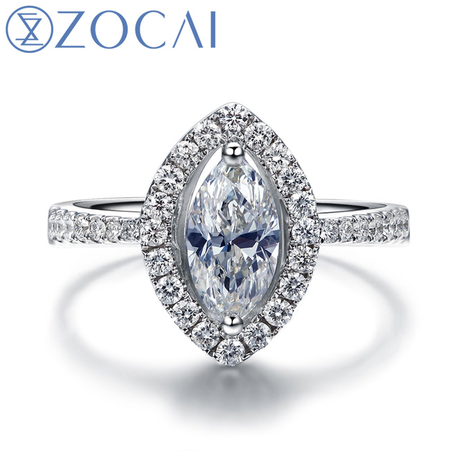 ZOCAI VINTAGE SIDESTONE 1.2 CT NATURAL F-G/ SI MARQQUIS CUT FLOATING HALO DIAMOND RING 18K WHITE GOLD  W03264