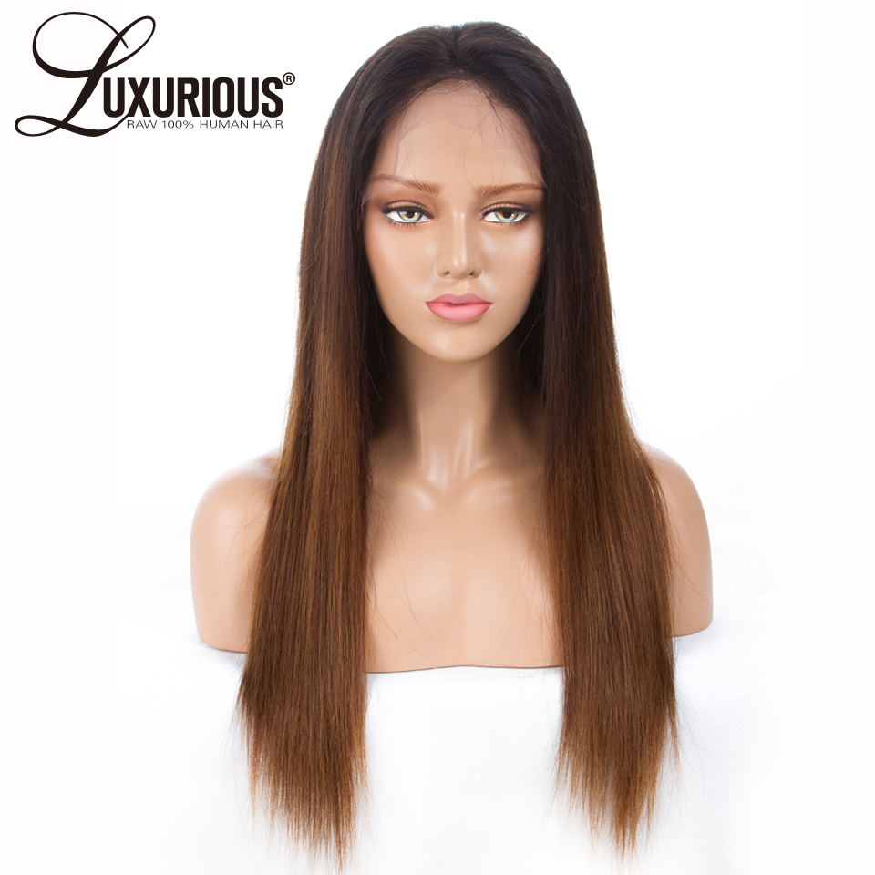 1b 4 30 Omber Colorful Lace Front Human Hair Wigs Straight Brazilian Remy Hair Pre Plucked