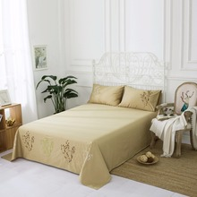 1-Piece Kaylee Floral Embroidered Bed sheet Bedspread for Wedding Decor Queen Twin Full Bedsheet King Size Cotton khaki