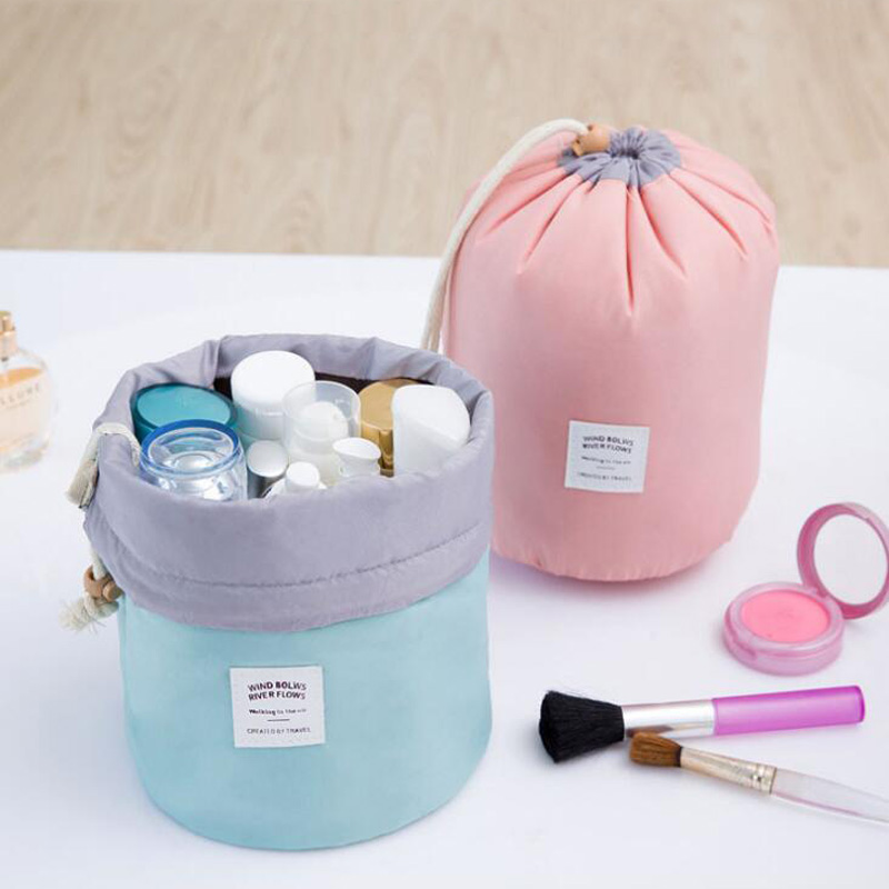 500pcs/lot High Quality Barrel Shaped Travel Cosmetic Bag Nylon Wash Bags Makeup Organizer Storage Bag High Capacity