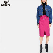 ROHOPO Pink Cute Women Pencil Skirt High Waist Belted Solid Office Ladies Midi Skirts #UK9024
