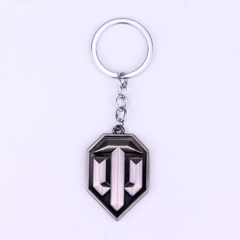 Two Colors Hot Design World of Tanks Keychain Popular Game Tanks Symbol Key Rings Holder for Game Fans