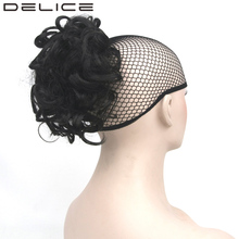 DELICE 12inch Black Clip In Afro Curly Wrap On Short Ponytail Heat Resistance Synthetic Drawstring Horse Tail Hairpiece