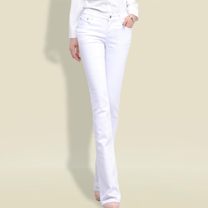 2019 Black White Mid Waist Denim Jeans Women White Black Jeans Spring Autumn Ladies Casual Pants Jeans Female Paddy Trousers