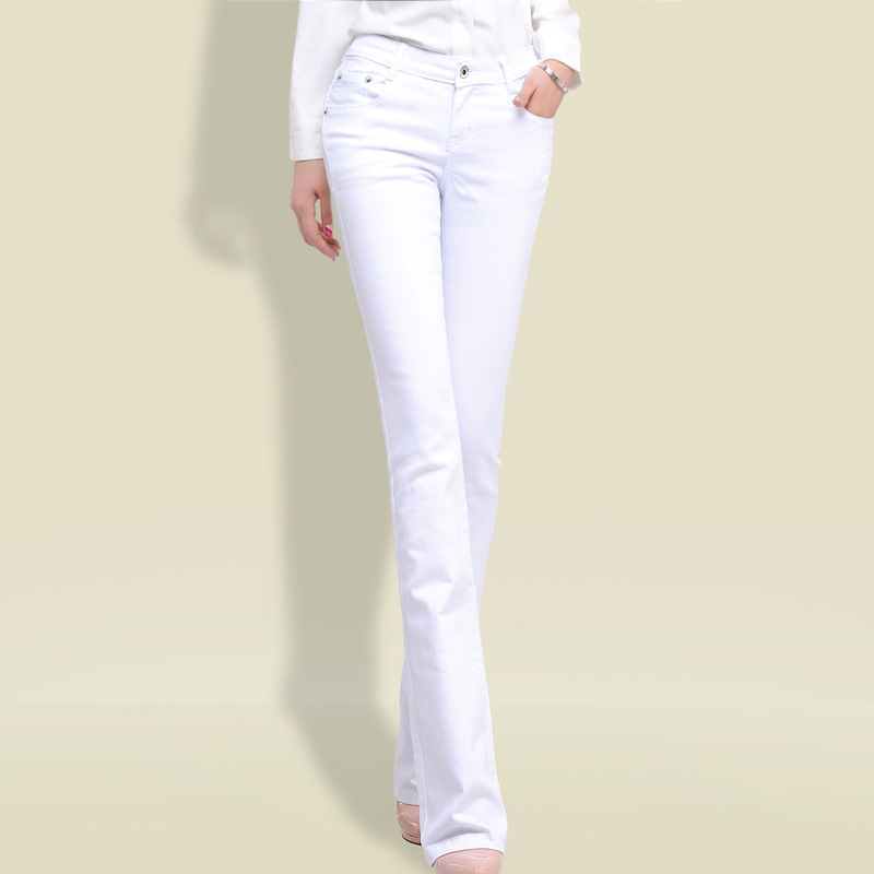 2019 Autumn Mid Waist Denim Jeans For Women White Black Jeans Ladies Casual Pants Jeans Female Paddy Trousers