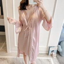 2019 kobiety szaty suknia ustawia Sexy Lace Satin bielizna nocna 2 sztuk jedwabiu Sleep Lounge z klatki piersiowej klocki