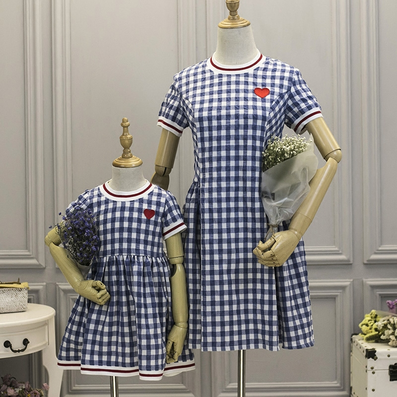Family fitted women 4XL girl 1Y-16Y Denim Blue Classic Plaid Dress 4XL Mother daughter Fashion mom baby Brand infant clothing kangfeng серый цвет 4xl