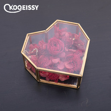 Geometry Glass Vintage Container Wedding Decor Ring Box Makeup Organizer Jewelry Storage Everlasting Flower Cover