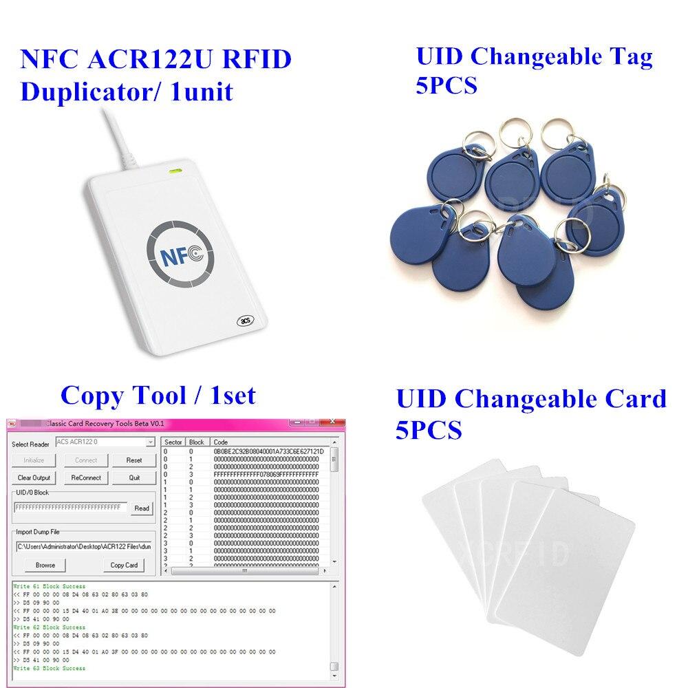ACR122u NFC Lecteur Écrivain 13.56 Mhz RFID Copieur Duplicateur + 5 pcs UID Carte + 5 pcs UID Tag + M-l'ifare Copie Clone logiciel