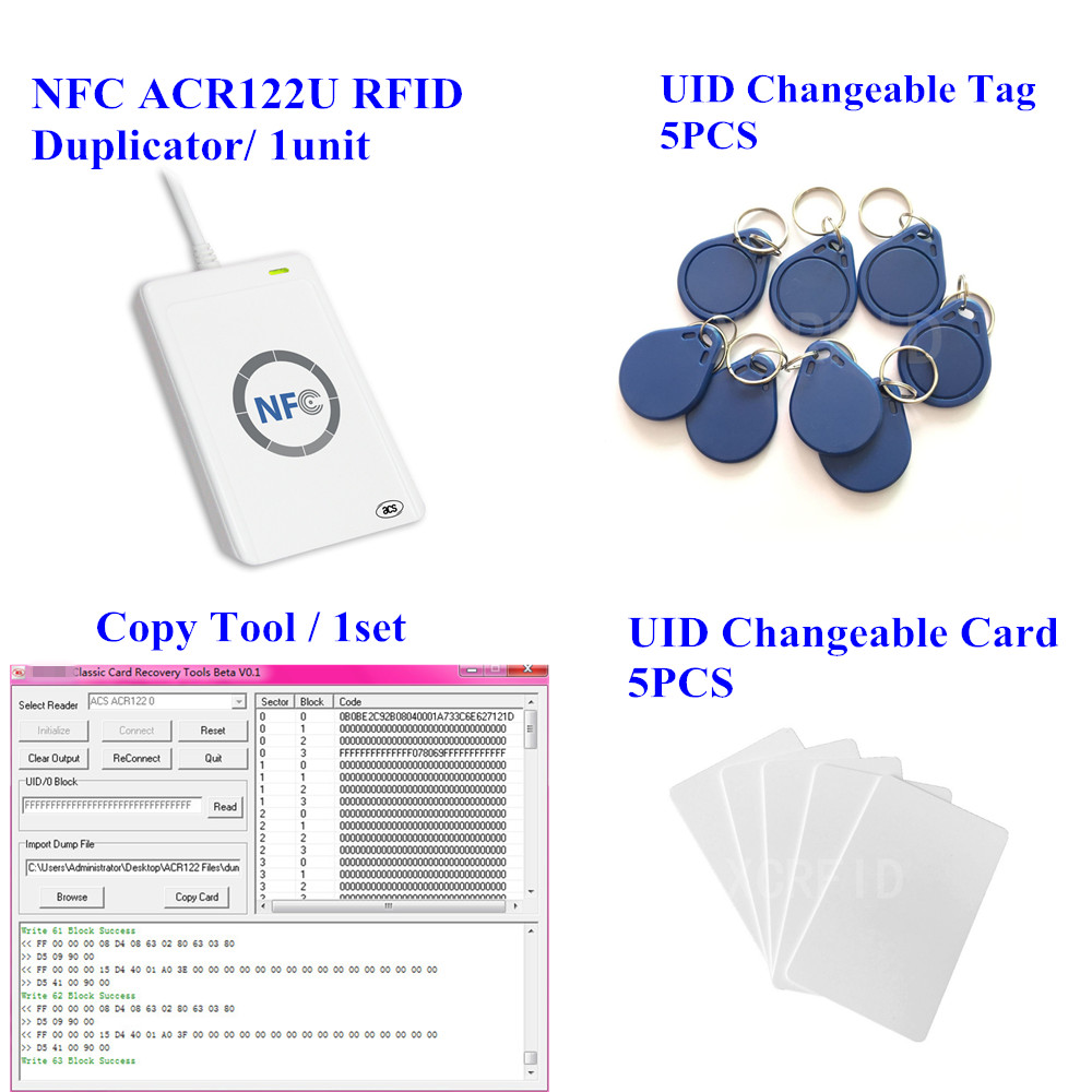 ACR122u NFC Reader Writer 13.56Mhz RFID Copier Duplicator + 5pcs UID Card + 5pcs UID Tag + M-ifare Copy Clone Software